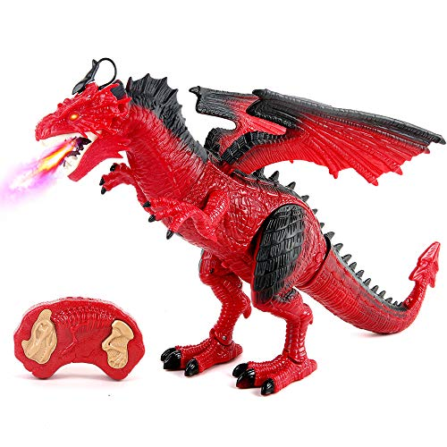 Remote Control Dinosaur, Red Dragon Figures Learning Realistic Looking Large Size with Roaring Spraying Light Up Eyes RC Walking Dinosaur Pet for Birthday, Xmas Gifts, Dragon Toy for Kids Boys Girls