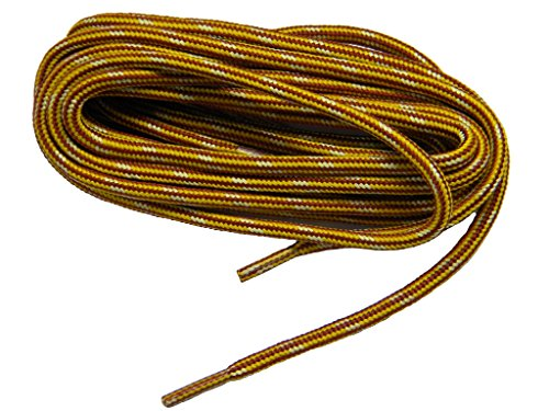 54 Inch Gold yellow w/ Brown Heavy Duty Kevlar Reinforced Boot Laces Shoelaces (2 Pair Pack)