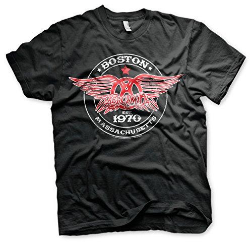 Aerosmith Este hombre oficial camiseta negro para Boston 1970 negro c71cfWqU
