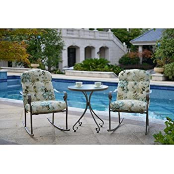 Willow Springs 3 Piece Rocking Chairs U0026 Table Outdoor Furniture Bistro Set,  Cream, Seats