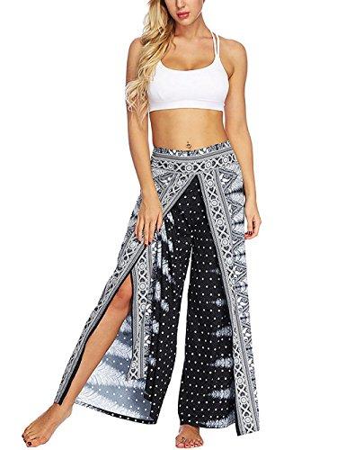 - YONGFENG Womens Cropped Wide Leg Casual Beach Pants Boho Slit Loose Palazzo Plus Size Bohemian Pants Elastic Waist (Grey, L/XL)