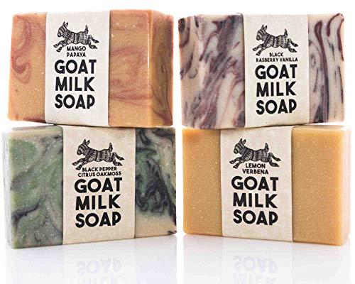 Goats Milk Soap | 4 Pack of our BESTSELLERS! All Natural Organic Ingredients | Black Rasberry Vanilla, Lemon Verbena, Black Pepper Citrus Oakmoss & Mango Papaya | Handmade in the USA!
