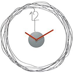 Infinity Instruments 14427 Modern Wire Transfer Wall Clock, 14 Round Diameter, Metal Wire Case, Orange Metal Hands, Open Face, Quartz Movement