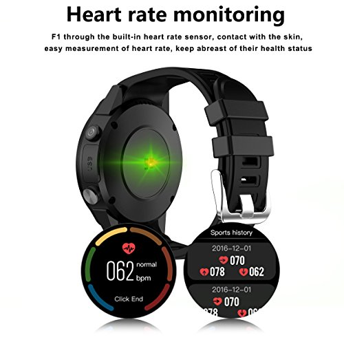 Amazon.com: Beseneur F1 Sport Smart Watch with Camera GPS Bluetooth Smartwatch SIM Card Wristwatch for Android IOS Phone Wearable Devices, Black (Black): ...