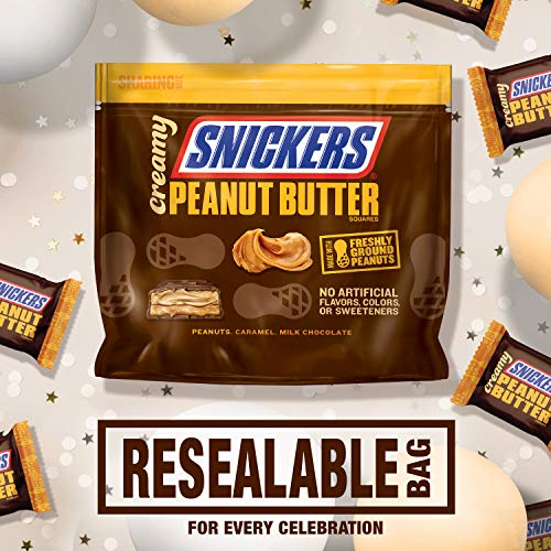 Amazon.com : Snickers Creamy SNICKERS Peanut Butter Square Candy Bars, 7.7 Ounce Bag, 7.7 oz : Grocery & Gourmet Food