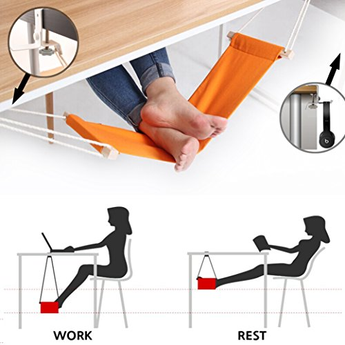 Foot Hammock Under Desk and Headphones Holder Portable Ergonomic Adjustable Home Office Desk Foot Rest Tool with Upgraded Screw Airplane Travel Foot Rest Accessories (Orange) by HYNEWHOME