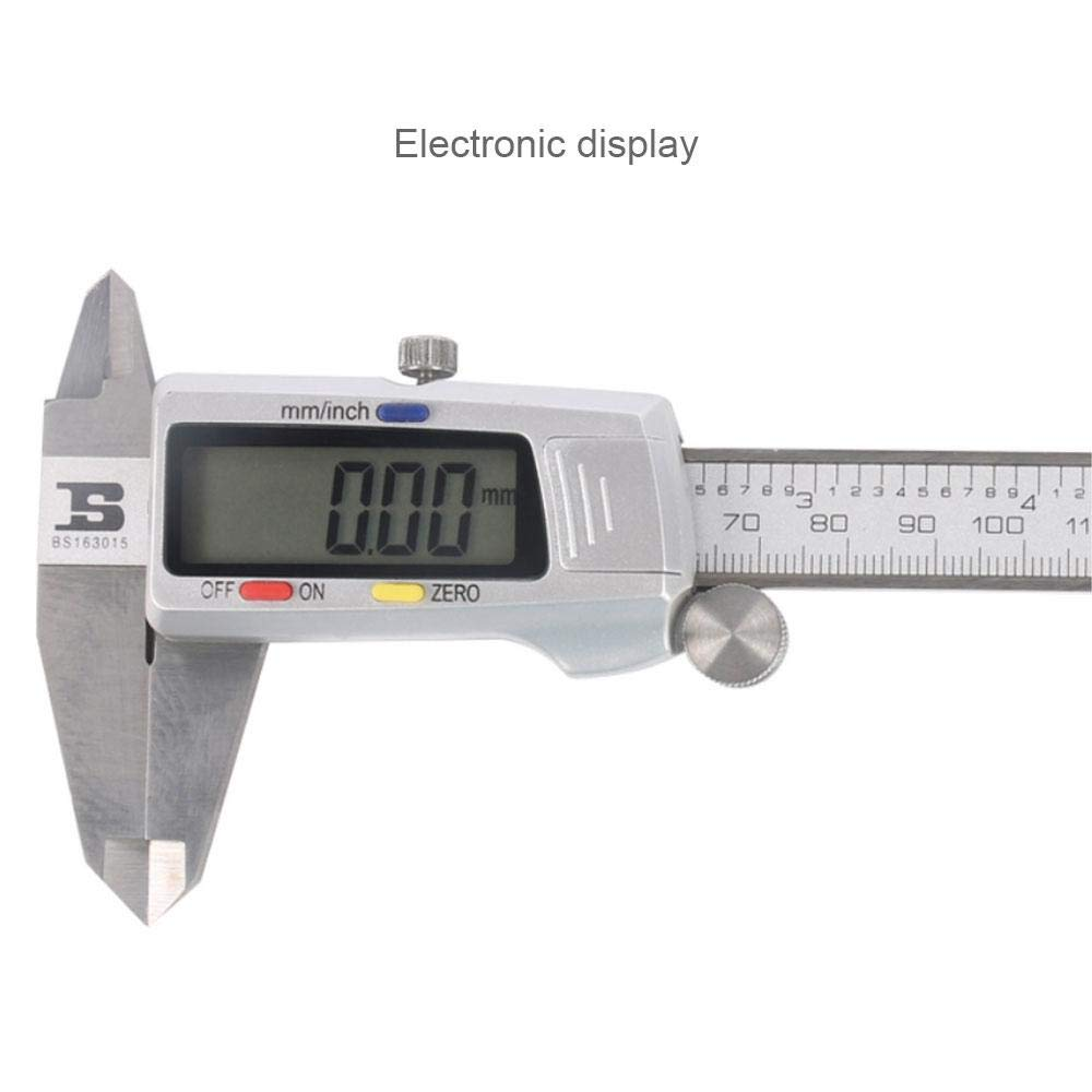 KOBWA Digital Vernier Calipers Stainless Steel Measuring Tool 3 in 1 Precision Ruler with Extra-Large LCD Screen and 150mm 0-6 Inch//Metric//Fraction Conversion for Woodworking Jewelry