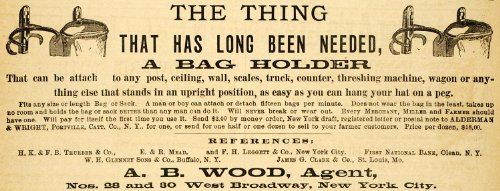 1883 Ad A. Wood Bag Holder Machine Wagon Truck Wright - Original Print Ad (Wright Design Holder Wood)