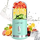 Portable Blender, LOFTER Smoothie Juicer Cup - Six Blades in 3D Multifunctional Small Travel Blender for Shakes and Smoothies, Mini Personal Blender with 4000 mAh Rechargeable Battery, Ice Tray, Green