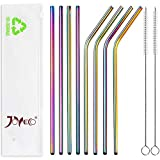 JOYECO Stainless Steel Drinking Metal Straws, Rainbow Multi-Colored Straw, Reusable Drink Straw for 20oz Tumblers Rumblers Beverage (Set of 8,4 Bent+4 Straight + 2Brushes)