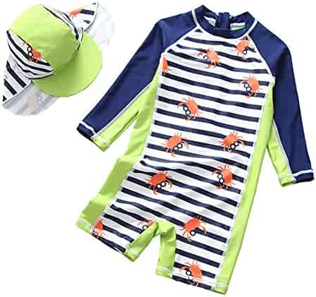 4a23104542 Baby Toddler Boys One Piece Swimsuit Sun Protective Rash Guard Bathing Suit  Kids Stripe Surfing Suit