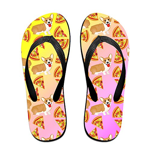 Funny Welsh Corgi Pizza Food Unisex Fashion Beach Slipper Indoor And Outdoor Classical Flip-flop Thong Sandals