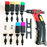 "RZX 8"" Rivet NUT Gun M3 M4 M5,m6,1/4-20m10-24, 8-32, 6-32,8-Piece mandrels Hand Riveter Rivet Gun, Riveting Tools with Nut Setting System"