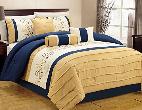 JBFF 7 Piece Luxury Embroidery Bed in bag Microfiber Comforter Set, Cal King, Blue/Yellow ()