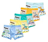 CHUNG Little Big Boys Soft Modal+ Cotton Boxer Briefs Underwear 5 Pack, Dinosaur, 3T
