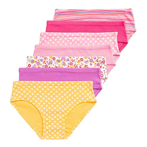 Lucky & Me Gracie Girls Underwear Briefs, 100% Organic Cotton, Tagless - 7 Pack (Kids 6, 7 Pack Briefs - Folk Floral)