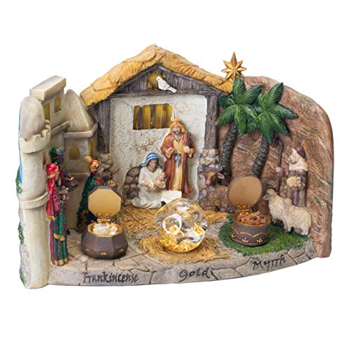 (Three Kings Gifts Panorama Nativity Figurine Statue with Real Gold, Frankincense and Myrrh)