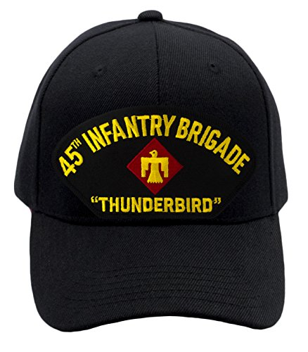 (Patchtown 45th Infantry Brigade - Thunderbird Hat/Ballcap (Black) Adjustable One Size Fits Most)