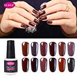 dark nail polish set - CLAVUZ Gel Nail Polish Kit Soak Off UV LED Gel Nail Lacquer Nail Art New Starter Manicure Set (12pcs Coffee Brown)