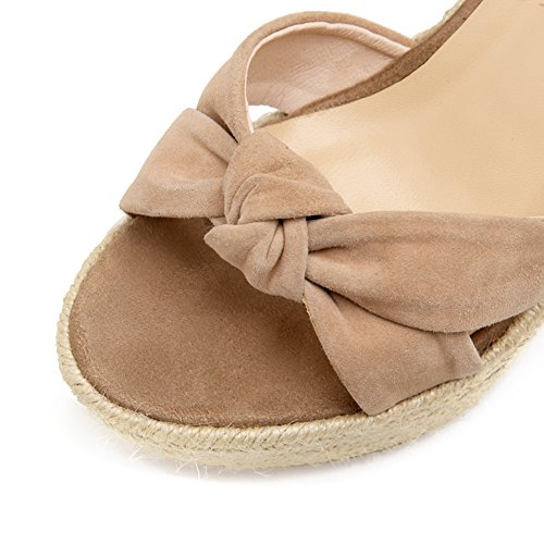 KJJDE Femmes Chaussures Compensées Sandales WSXY-L2116 Bowknot Supérieur High Talon Bout Ouvert Sangle De Cheville 11CM Beige RM2dX5a