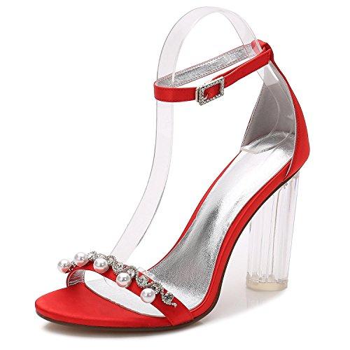 L@YC Frauen Hochzeit Schuhe Y2615-13 Kristall grobe Plattform mit künstlichen Perlen Diamant High Heel Hochzeit Schuhe Red