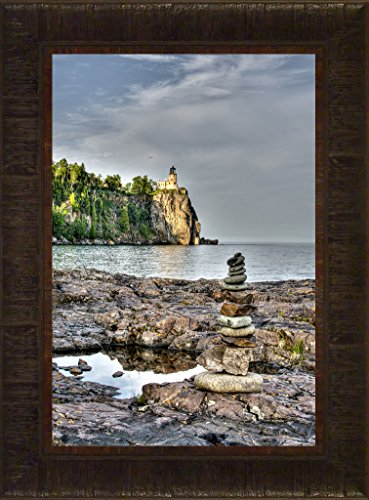 Lighthouse Split Rock Pictures (Shoreline Sculptures By Todd Thunstedt 23.5x17.5 Lake Superior North Shore Agate Bay Lighthouse Sailing Tall Ship Ocean Sea Split Rock Two Harbors Edmund Fitzgerald Framed Art Print Wall Décor Picture)