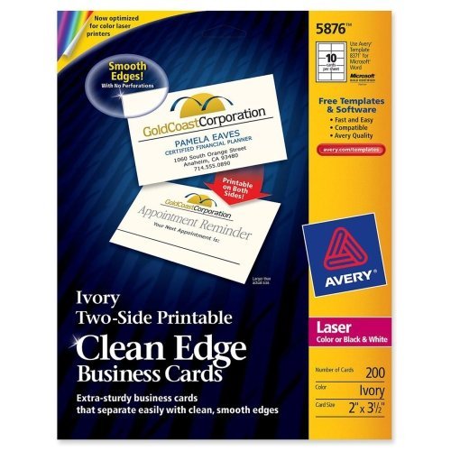 Wholesale CASE of 15 - Avery Clean Edge Laser Business Cards-Business Cards,F/Laser Printer,200/PK,3-1/2''x2'',Ivory by AVE
