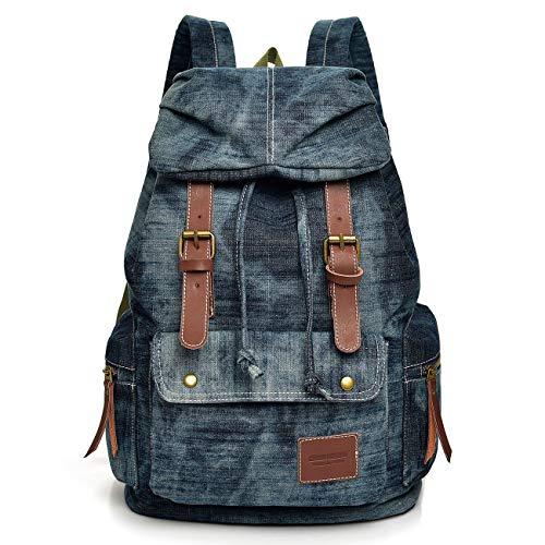 Women Denim Backpack Purse Retro Rucksack Stonewash Jeans Bag School Book bag for Teenager Grils Canvas Backpack for College Student(Blue)
