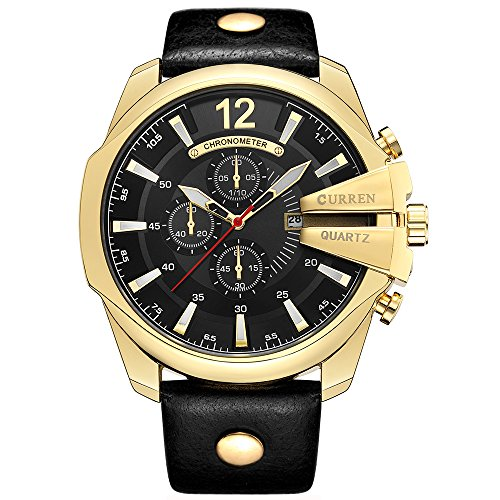 Curren Men Watches Luxury Date Gold Male Fashion Leather Strap Outdoor Casual Sport Wristwatch with Big Dial (Gold Black)