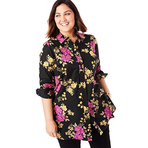 Jessica London Women's Plus Size Long Sleeve Collared Poplin Tunic - Black Bouquet, 16 ()