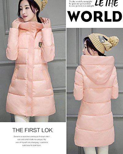 Delgado 2 Largo Parka Caliente Abajo Chaqueta Pink Encapuchado Invierno Mujer Acolchado Abrigo 46xPTn4