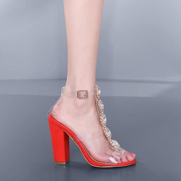 fdcd6e7ac55de Cdvintu Womens Cutout Gem Clear Chunky Heels Gladiator Transparent Strip  Sandals Ankle Strap Buckle Stilettos with Rhinestones