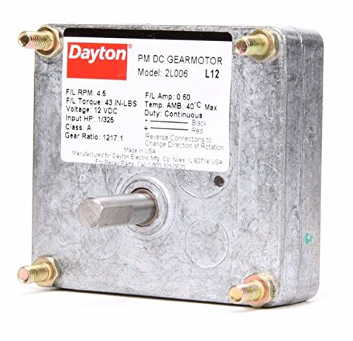 Dayton DC Parallel Shaft Permanent Magnet Gear Motor 4.5 RPM,  1/325hp 12 Volts DC Model 2L006
