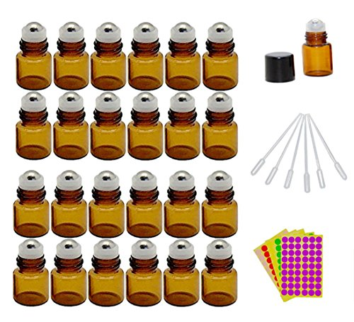 1-ml-1-4-dram-amber-glass-roll-on-bottles-vials-for-essential-oil-come-with-blank-lables-plastic-dro