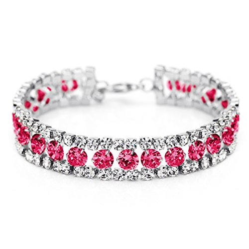 Neoglory Jewelry 14k Gold Plated Pink Eyes Tennis Link Bangles Bracelets with CZ Wrist Chain (Rhinestone Pink Bracelet)