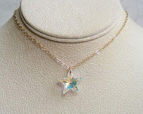 Aurora Borealis Star Crystal Pendant 20 Inch Gold Filled Necklace Made With Swarovski Gift Idea