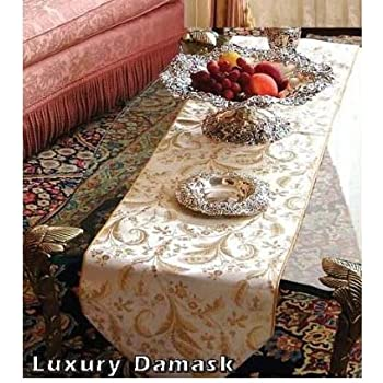 "Violet Linen Luxury Damask Table Runner, 13"" x 70"", Beige"