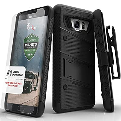 Samsung Galaxy S6 Case, Zizo Bolt Cover [.33mm 9H Tempered Glass Screen Protector] Included [Military Grade] Armor Case Kickstand Holster Belt Cl
