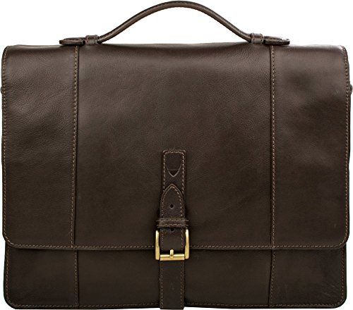 57d6a2635487 Hidesign Maverick 02 Double Gusset Briefcase Bag - Laptop Bag - Messenger  Bag - For Men - Travel Bag - Casual Travel - For Work With Removable Leather  ...