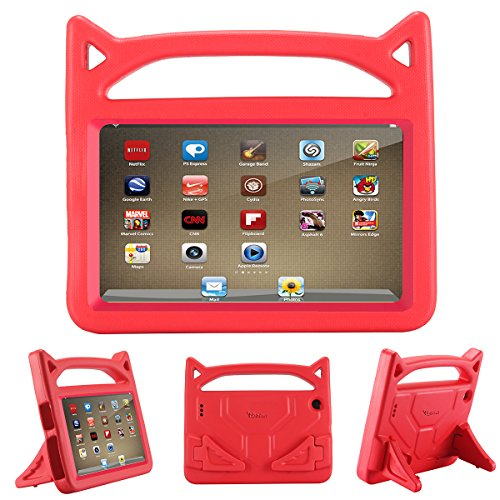 All-New Fire 7 2019 Case,Fire 7 Tablet Case,Riaour Kids Shock Proof Protective Cover Case for Fire 7 Tablet(Compatible with 5th Generation 2015/7th Generation 2017/9th Generation 2019)(Hot Red -1)