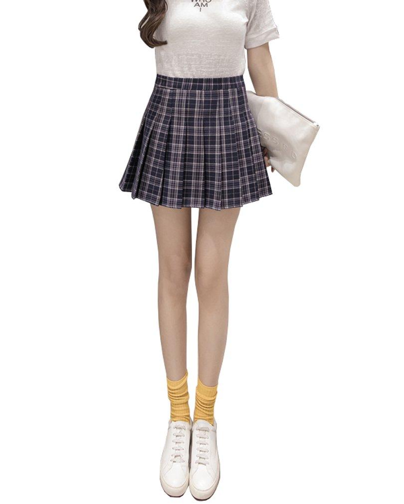 Alvivi Women Girls High Waisted Pleated Mini Skirt Skater Tennis School Uniform