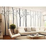 4 Big Birch Tree Wall Decal Nursery Removable Vinyl Tree Wall Decals for Living Room Tree Wall Stickers
