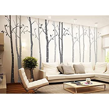 Designyours 4 Big Birch Tree Wall Decal Nursery Removable Vinyl Tree Wall  Decals For Living Room