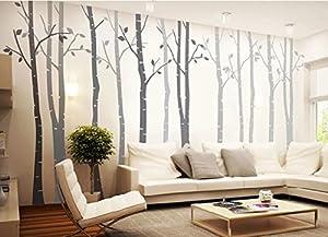 4 Big Birch Tree Wall Decal Nursery Removable Vinyl Tree Wall Decals For  Living Room Tree Wall Stickers Part 32
