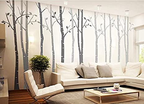 4 Big Birch Tree Wall Decal Nursery Removable Vinyl Tree Wall Decals For Living  Room Tree