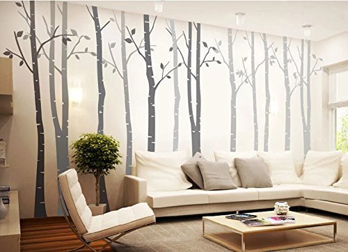 Amazon.com: 4 Big Birch Tree Wall Decal Nursery Removable Vinyl Tree Wall  Decals For Living Room Tree Wall Stickers: Home U0026 Kitchen