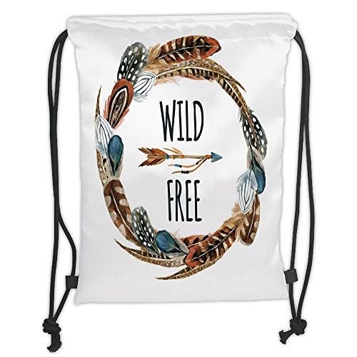 New Fashion Gym Drawstring Backpacks Bags,Feather,Watercolor Wreath Bird Feathers Circle with an Arrow Wild and Free Concept Decorative,Brown Orange Blue Soft Satin,Adjustable Str -