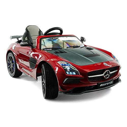 Mercedes SLS Final Edition Children Ride-On Car with R/C Parental Remote 12V Battery Power LED Wheels Lights + 5 Point Seat Belt + MP4 LCD TV Music Video Player + Rubber Floor Mat (Cherry Red)