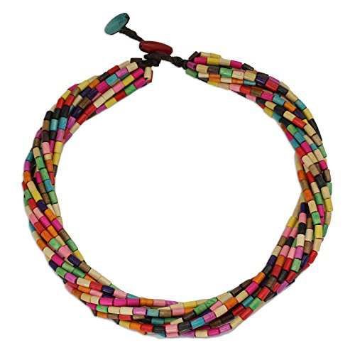 NOVICA Multicolored Beaded Wood Layered Torsade Necklace 'Phuket Belle', 19.75-21.75