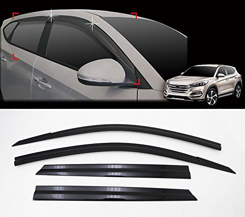- auto clover D053 Smoke Window Sun Wind Rain Shield Visor Vent 4-pc Set For 2016 Hyundai Tucson